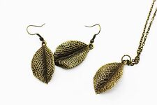 Leaf Dangling Earring Necklace Set 3D Boho Bohemian Tribal Style Hippie Pendant