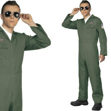 Mens Aviator Pilot Fancy Dress Costume - 1980s / 80s Top Fighter Pilot Outfit