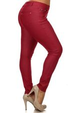 Jeggings - Solid color stretchable basic PLUS SIZE jeggings with 5 pockets.