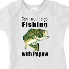 """CAN'T WAIT TO GO FISHING WITH PAPAW"" BASS FISHING Infant Tee or Youth T-Shirt"