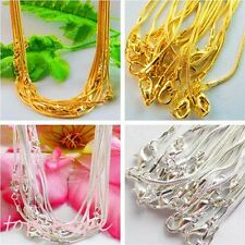 43cmx1.0mm 10Pcs Wholesale Slippy Silver Plated/Gold Plated Snake Chain Necklace