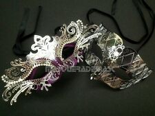 Princess Silver Masquerade Ball Mask Pair Costume Prom Birthday Graduation Party