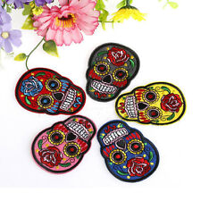 DIY Embroidered Cloth Iron On Patch Sew Motif Applique skull