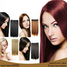 clip in hair extensions 5clips 1piece/set hair piece straght heat resistant 120g