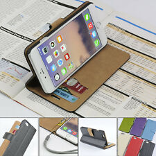For Apple iPhone 6 6s 6+ 6s+ Genuine Leather Wallet Case Card Holder Flip Cover