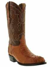 mens cognac brown real crocodile alligator cowboy leather boots western rodeo
