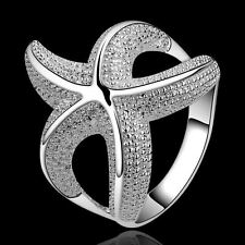 Popular Womens Silver Plated Starfish Charm Finger Band Ring Wedding Jewelry HOT