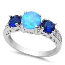 3 Stone Wedding Engagement Ring Sterling Silver Blue Opal Blue Sapphire Clear CZ
