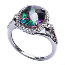 Halo Dazzling Wedding Engagement Ring Sterling Silver 3.85CT Topaz Russian CZ
