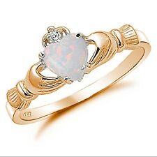 Promise Wedding Claddagh Ring Rose Gold 925 Sterling Silver 0.75CT Fiery Opal CZ