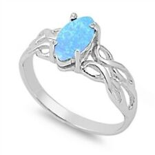12mm Solitaire Wedding Engagement Ring 925 Sterling Silver Marquise Light Blue