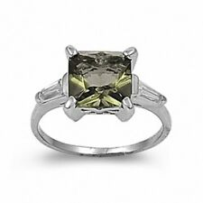 Ladies Fashion Ring 925 Sterling Silver 3.01 Ct Olivine Green Peridot Russian CZ