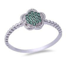 Ball Shank Flower Ring Solid 925 Sterling Silver Emerald Green Petite Dainty CZ