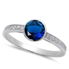 Wedding Engagement Ring Sterling Silver Ring 0.84CT Blue Sapphire Russian CZ