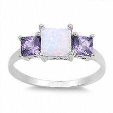 3 Stone Wedding Engagement Ring 925 Sterling Silver 3.60CT Lab Opal Amethyst CZ