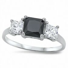 3 Stone Wedding Engagement Ring 2.5ct Black and Russian CZ 925 Sterling Silver