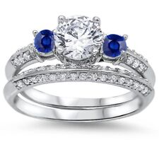Wedding Engagement Bridal Ring Solid 925 Sterling Silver 2ct Sapphire Russian CZ