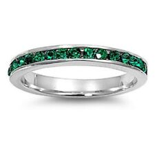 3MM Stackable Eternity Wedding Engagement Band Ring Silver Emerald Green CZ