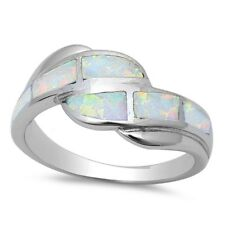 Trendy Bypass Design Australian White Opal Ring Solid 925 Sterling Silver