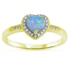 Halo Dazzling Promise Heart Ring Yellow Gold Silver 1.20ct Lab Blue Opal