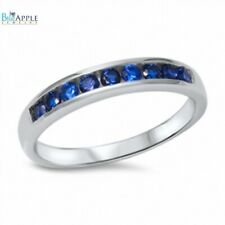 3mm Half Eternity Wedding Engagement Band Ring Sterling Silver Blue Sapphire CZ
