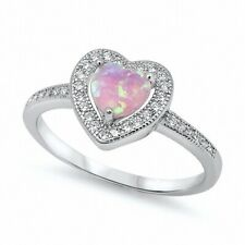 Halo Promise Ring 925 Sterling Silver 1.20Ct Pink Opal Synthetic Russian Ice CZ