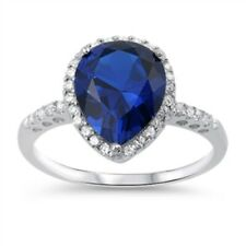Halo Wedding Engagement Ring Solid 925 Sterling Silver 3Ct Deep Blue Sapphire CZ