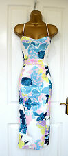~FABIA~ White Floral Midi Wiggle Bodycon Evening Party Dress 8 10 12 14 £75 BNWT
