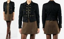 NWT JUICY COUTURE Black Skylar Twill Military Biker Cropped Jacket