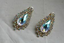 Clip-on beautiful design sparkling earrings, tear drop, gold or silver color