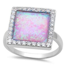 Halo Wedding Engagement Ring Pink Opal Solitaire Solid 925 Sterling Silver