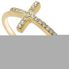 Sideways Cross Ring Sterling Silver 14K Yellow Gold White Pave Russian CZ