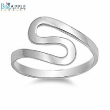 Shinny Rhodium Simple Plain Ring solid 925 Sterling Ring Abstract Comfort Fit