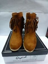 WOMENS QUIPID FAUX SUEDE DARK RUST FRINGED ANKLE BOOTS VARIOUS SIZES NIB
