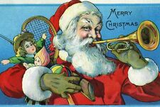 Retro Santa Claus blowing horn, holding toys. MERRY CHRISTMAS cards vintage art