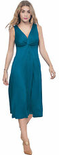 BLUE WOMENS SLEEVELESS VNECK MIDI EVENING DRESS PARTY COCKTAIL SUMMER DRESS