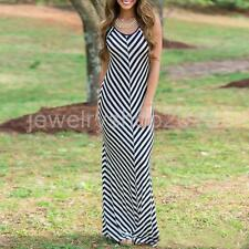 Sexy Women Striped Sleeveless Boho Long Maxi Dress Summer Casual Beach Holiday