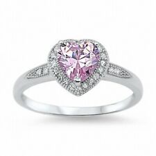 Halo Promise Heart Ring 925 Sterling Silver 1.20Ct Pink Topaz Clear Russian CZ