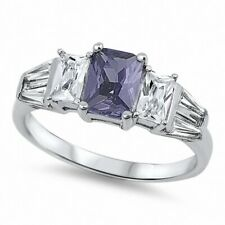 3 Stone Wedding Engagement Ring 925 Sterling Silver 2CT Purple Amethyst CZ