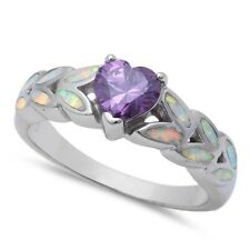 Promise Wedding Engagement Ring 925 Sterling Silver 0.44CT Amethyst White Opal