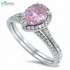 Designer Halo Wedding Ring Band 925 Sterling Silver Pear Pink CZ Russian Ice CZ