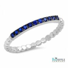 Half Eternity Wedding Engagement Band Ring Sterling Silver Cut Blue Sapphire CZ