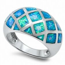 13MM Wide Dome Ladies Band Ring 925 Sterling Silver Blue Australian Lab Opal
