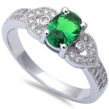 Modern Wedding Engagement Ring 925 Sterling Silver 1CT Oval Emerald Russian CZ
