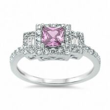 3 Stone Wedding Engagement Ring 925 Sterling Silver 2.50CT Pink Topaz Russian CZ