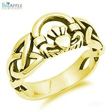 5mm Heart Shape Celtic Claddagh Engagement Ring Yellow Gold Sterling Silver