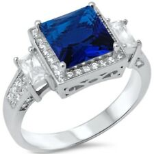 Halo Wedding Engagement Ring 925 Sterling Silver 3.01CT Blue Sapphire Russian CZ