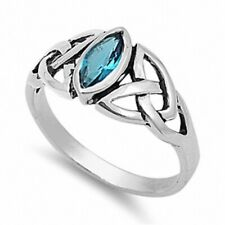 Twisted Knot Solitaire Engagement Ring Solid Sterling Silver 1Ct Blue Topaz CZ
