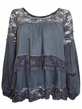 REGULAR & PLUS SIZE 6-18 LAGENLOOK GREY LACE TRIM LAYERED BOHO PEASANT TUNIC TOP