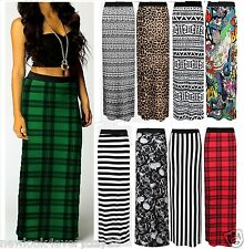 NEW WOMENS LONG GYPSY ELASTIC JERSEY   SUMMER PRINTED MAXI SKIRT DRESS PLUS SIZE